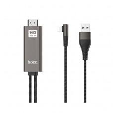 Кабель Hoco UA14, HDTV Lightning - HDMI Full HD 1080P, 2 метра, чёрный