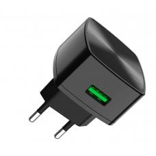 Сетевое зарядное устройство Hoco C70A QC 3.0, чёрное